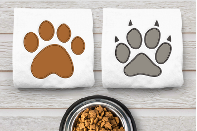 Dog and Cat Paw Duo Set   Applique Embroidery