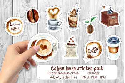 Coffee stickers printable sticker pack PNG sticker sheet