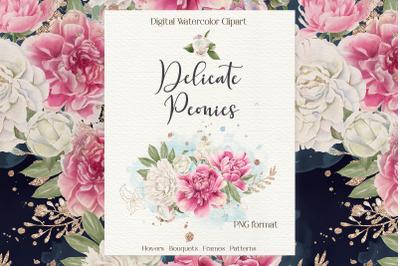 Watercolor flowers Peonies clipart big set