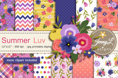 Summer Digital Papers and Clipart