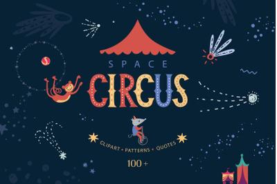 Space circus. Graphic set
