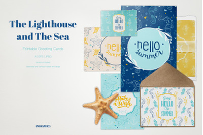 The Lighthouse and The Sea Printable Cards