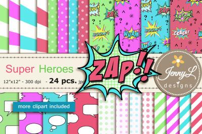 Super Hero Digital Papers & Clipart