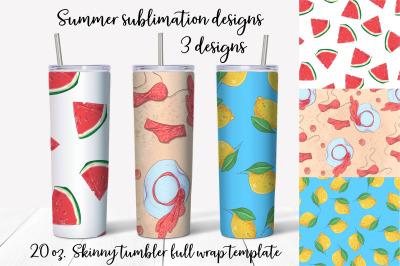 Summer sublimation design Skinny tumbler wrap design
