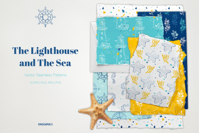 The Lighthouse and The Sea Vector Patterns