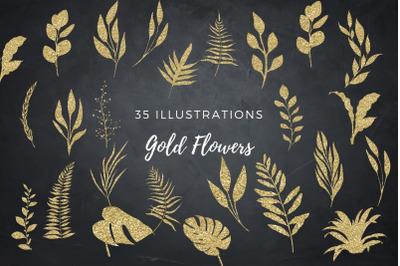 Gold glitter floral clip arts