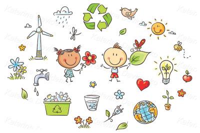 Clipart eco green energy kids set