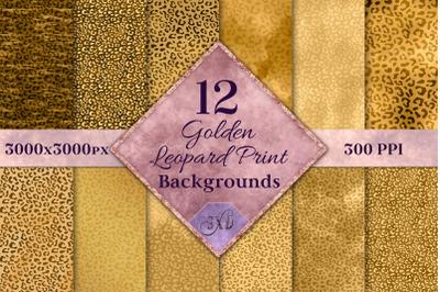 Golden Leopard Print Backgrounds - 12 Image Textures Set