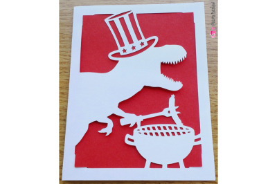 Patriotic T-Rex BBQ Card SVG, Eps, Dxf and Png.