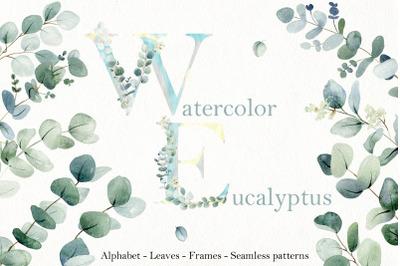 Watercolor Eucalyptus. Alphabet.