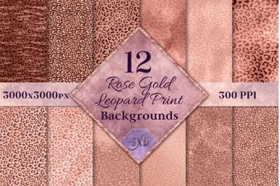 Rose Gold Leopard Print Backgrounds - 12 Image Textures Set