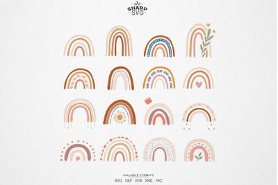 Boho Rainbow SVG - Boho Rainbow Bundle - Pastel Rainbow SVG