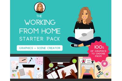 Working from Home Starter Pack | Graphics| Female | Girl | Logo Design | Feminine Scene Creator | Blog | Desk | Website | Business Cards