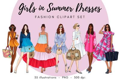 Girls in Summer Dresses clipart set