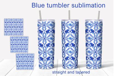 Blue ornament Tumbler Sublimation PNG/ 20 oz Tumbler Design