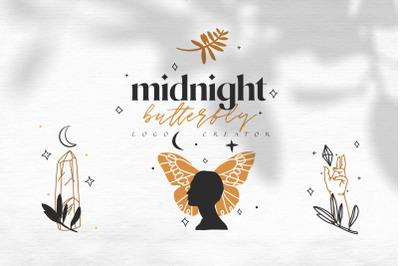 Midnight butterfly logo creator