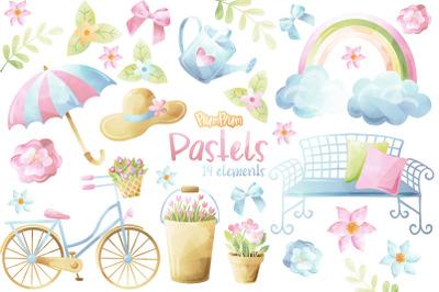 Pastels Watercolor Cliparts