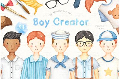 Boy Creator Watercolor Clip Arts