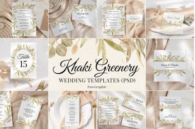 Greenery Wedding Template Cards Boho Invitation Set