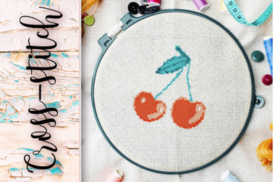"""The scheme for embroidery cross-stitch """"Cherries"""""""