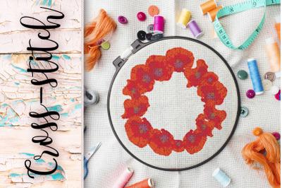 "Cross stitch design ""Poppy wreath""."