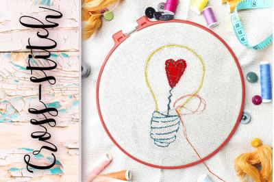 Cross stitch. Scheme light bulb