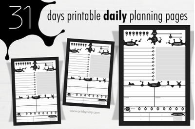 31 days printable daily planning pages.