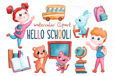 Back To School Kids Handdrawn Watercolor Clipart