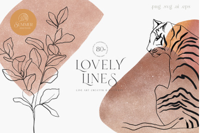 Line Art Creator and Patterns Summer Textured Shapes Vector