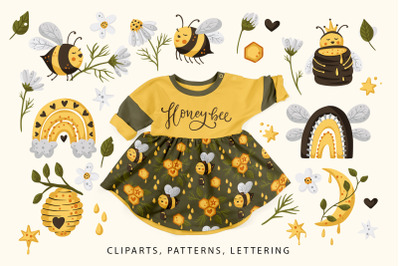 Honey Bee clipart and patterns pack.