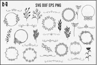 Wreath and Swirl Svg Bundle, Wreath Svg, Flourish Svg