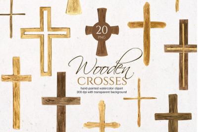 Watercolor Wooden crosses