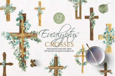 Eucalyptus wooden watercolor cross