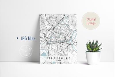 Strasbourg France, Jpg files, city map printable