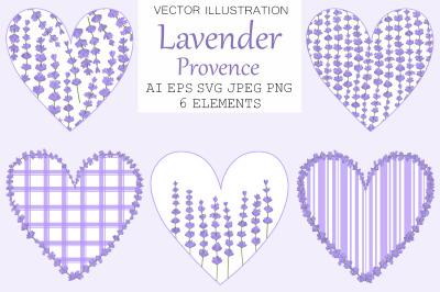 Lavender hearts. Hearts Provence. Lavender flowers SVG