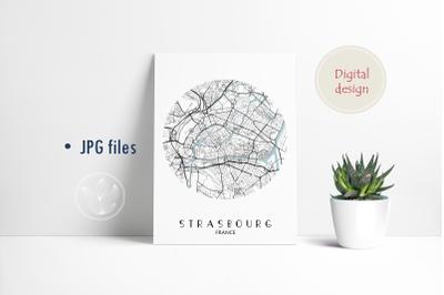 Strasbourg France round, Jpg files, city map printable