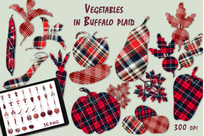 Vegetables in Buffalo plaid