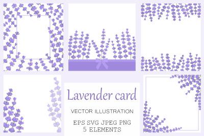 Lavender card. Lavender frame. Provence card. Lavender SVG