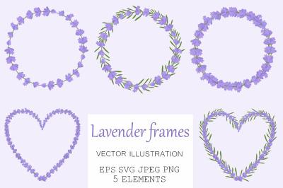 Lavender frame. Provence frames. Lavender card. Lavender SVG