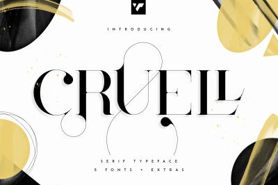 Cruell Serif Typeface - 5 fonts