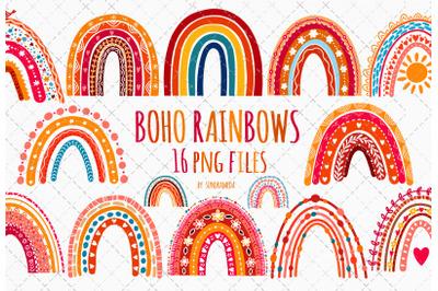 Watercolor Boho Rainbow Clipart PNG
