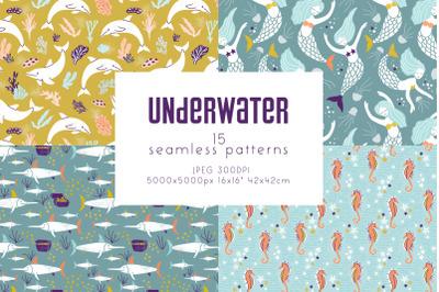 Underwater - seamless patterns collection