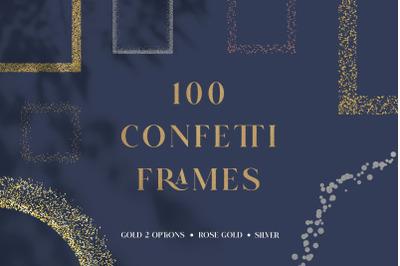 100 Confetti Glitter Frames