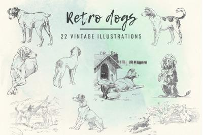 Vintage antique dogs clip art graphics, Vintage dogs illustrations