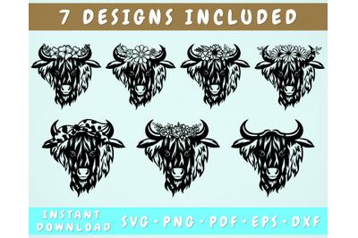 7 Highland Cow SVG, Heifer with Flower Crown SVG, Heifer with Bandana