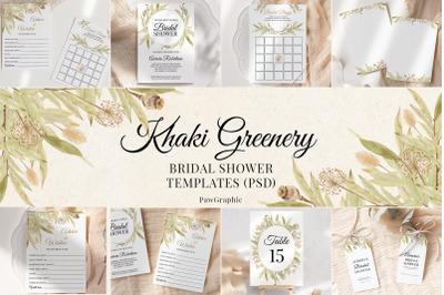 Greenery Bridal Shower Templates Cards Boho Invitation Suit