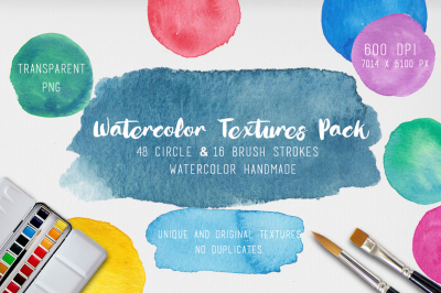 Watercolor Textures. 64 background painted