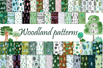 Woodland patterns. Forest seamless. Digital papers.