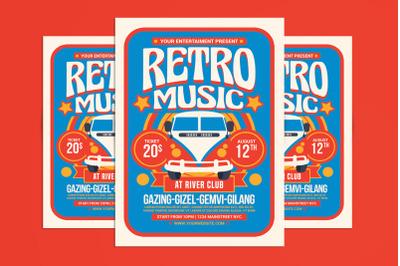 Retro Hippies Music Flyer