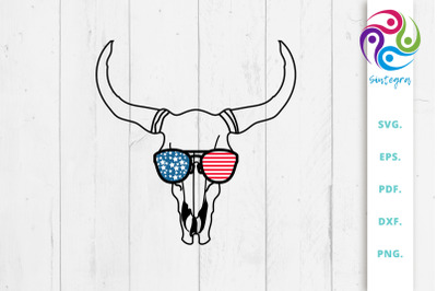 4th Of July Cow Skull With Sunglasses USA America
